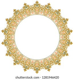 Arabic floral frame, round, oval decorative frame, vector element for design in oriental style, islamic design.
