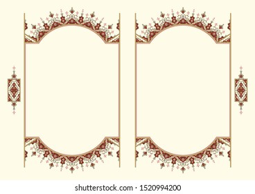 Arabic Floral Frame. Traditional Islamic Design. Mosque decoration element. Elegance Background