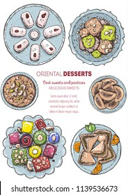 Arabic food. Oriental sweets vector illustration. Middle eastern food, hand drawn. Colored illustration. Food menu background. Colorful vector illustration. EPS10