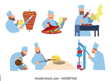 Arabic food. Shawarma, shish kebab, lozenges. Vector illustration. Arabian chef.