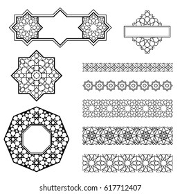 Arabic geometric art, collection of borders and decorative elements