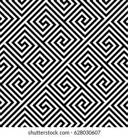 Arabic geometric texture. Islamic Art. Greek key . Abstract geometric black and white hipster fashion pillow maze pattern