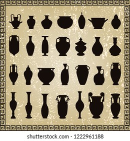 Arabic Greek vases on grunge background- vector illustration.