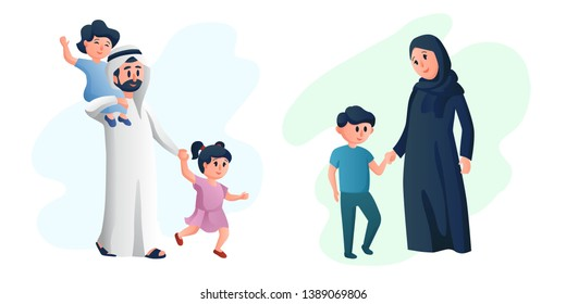 Arabic happy family, mother and father playing with their children. Young parents. Arab healthy couple cartoon characters vector illustration