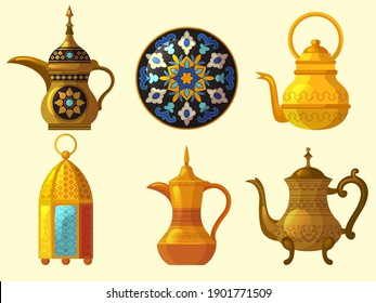 Arabic heritage. East cultural native traditional objects various pottery arab emirates decoration vector collection