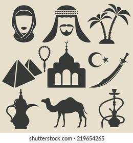 Arabic icons set- vector illustration. eps 8