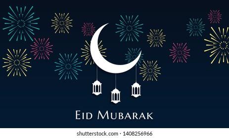 Arabic Islamic calligraphy of text Eid mubarak, islamic background