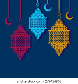 Arabic lanterns and crescents. Vector illustration