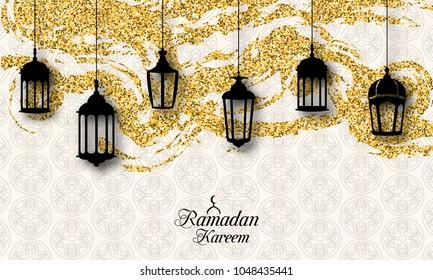 Arabic Lanterns, Fanoos for Ramadan Kareem, Islamic Glitter Card - Illustration Vector