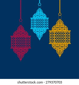 Arabic lanterns red blue and yellow vector illustration