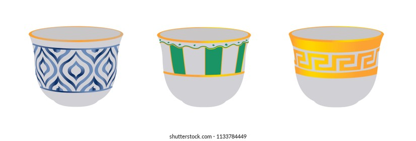 Arabic, Lebanese, Turkish Coffee Cup Set - Vector Illustration Isolsated Icon