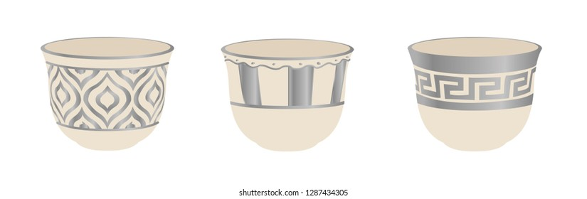 Arabic, Lebanese, Turkish Silver Coffee Cup Set - Vector Illustration Isolated Icon