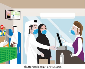 Arabic man with his wife shopping during COVID 19 wearing face mask