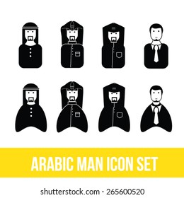 Arabic Man Icon Set, Islamic, Khaliji, Gulf