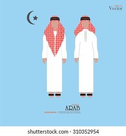 Arabic man. Saudi Arabia man. Vector illustration