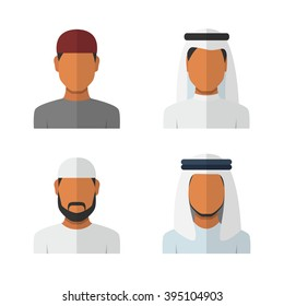 Arabic man set, vector avatars