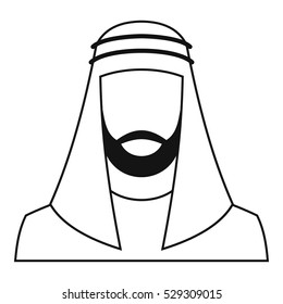 Arabic man in traditional muslim hat icon. Simple illustration of arabic man in traditional muslim hat vector icon for web
