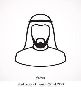 Arabic man in traditional muslim hat, vector avatar