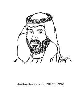 Arabic Man with traditional scarf. The Bedouin Arabian. Mohammed bin Salman. Vector illustration.