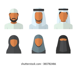 Arabic man and woman set, vector avatars