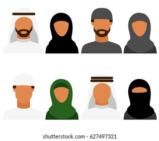 Arabic man and woman, vector avatars, set