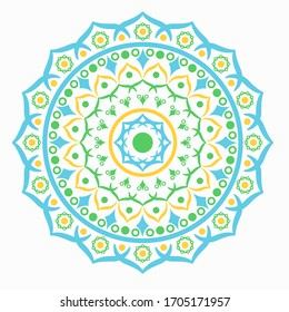 Arabic mandala with blue, green and yellow color isolated on white background