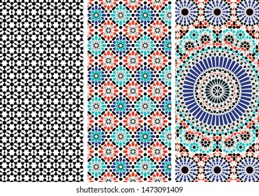 Arabic Mosaic Zellige Colorful Vector