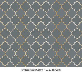 Arabic Mosque Vector Seamless Pattern. Eid al fitr muslim background.  Traditional ramadan kareem mosque pattern with gold grid mosaic.  Islamic textile grid design of lantern shapes tiles