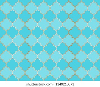 Arabic Mosque Vector Seamless Pattern. Ramadan mubarak muslim background.  Holy month ramadan kareem mosque pattern with gold grid mosaic.  Islamic textile grid design of lantern shapes tiles