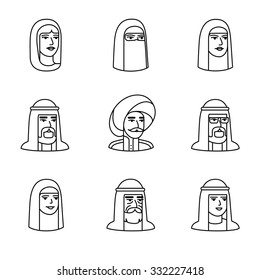 Arabic and muslim people faces icons thin line art set. Black vector symbols isolated on white.