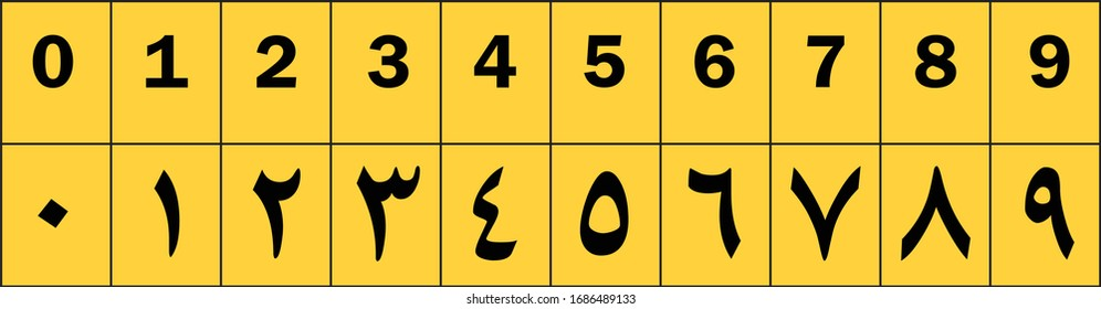 Arabic numbers set on white background.