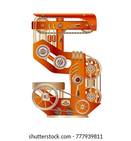 Arabic numeral 5 of mechanic alphabet. Steampunk font style. Mechanical design. Made in the form of a mechanism with moving and stationary parts with tubes, gears and pistons in red casing.