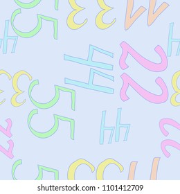 Arabic numerals eleven, twenty two, thirty three, forty four, fifty five  seamless pattern.  Hand drawn.