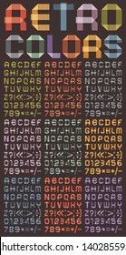 Arabic numerals and Roman alphabet. Alphabet folded of ribbon paper. Nine different colors. A, B, C, D, E, F, G, H, I, J, K, L, M, N, O, P, Q, R, S, T, U, V, W, X, Y, Z, 0, 1, 2, 3, 4, 5, 6, 7, 8 ,9.