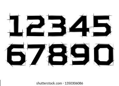 Arabic numerals set 1-10. Black figures. Isolated vector objects on white background