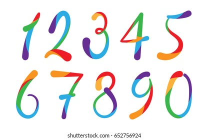 Arabic numerals set 1-10. Colored figures.