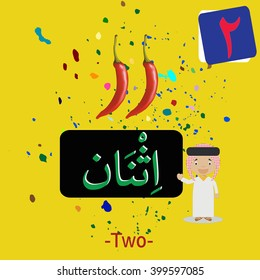 """Arabic Numeric Translation with fruit illustrations for kid education """"two""""  - Shutterstock ID 399597085"""