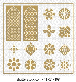 arabic ornament icon, vector set