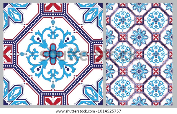Arabic Patter Style Tiles Wall Floor Stock Vector (Royalty