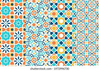 Arabic pattern. Arab ornament. Orient decor. Turkish motif. Arabian muslim ethnic style. Ramadan wallpaper design. Moroccan style. Emirates mosaic pattern. Persian texture. Vector illustration.