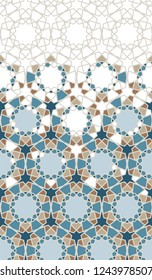 Arabic pattern. Arabesque repeating vector border. Geometric halftone texture with color tile disintegration or breaking