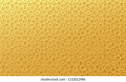Arabic pattern background. Islamic gold ornament vector. Geometric 3d shape. Texture arabian traditional motif