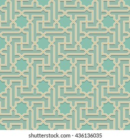 Arabic pattern colored seamless ornament. Vector repeating background. Geometric tiled texture