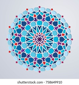 Arabic pattern colorful geometric morocco ornament