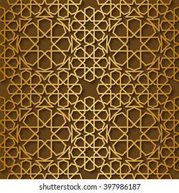 Arabic pattern gold style. Traditional east geometric decorative background