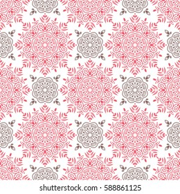 Arabic pattern. Indian, islamic, japanese motifs. Mandala seamless pattern. Ethnic bohemian background. Wrapping and scrapbook paper. Print for fabric. Vector illustration