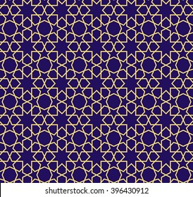 Arabic pattern seamless background. Geometric muslim ornament backdrop. yellow on blue. vector illustration of islamic texture