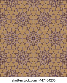 Arabic pattern seamless background. Geometric ornament backdrop. blue on brown. vector illustration of islamic texture