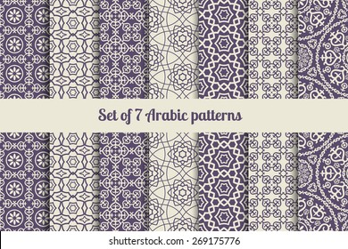 Arabic or patterns set for backgrounds and textures