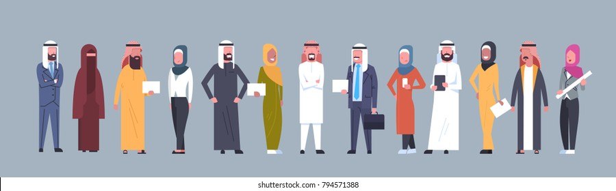 Arabic People Group Wearing Traditional Clothes Full Length Arab Business Man And Woman, Muslim Male And Female Flat Vector Illustration